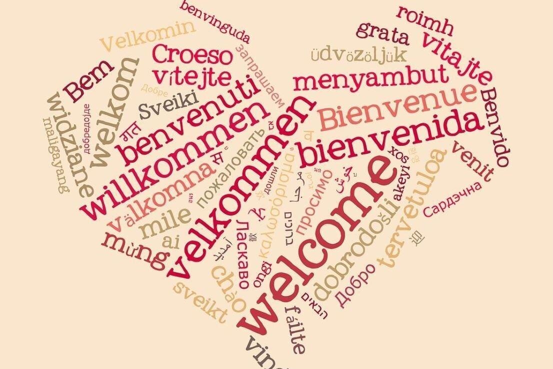 Bild zeigt Herzwolke aus verschiedenen Sprachen; Foto: pixabay