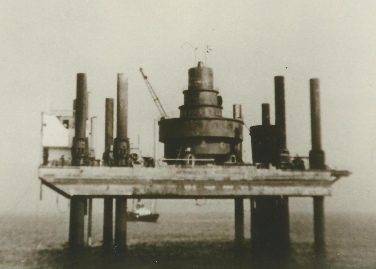 Hubinsel Bau Leuchtturm Alte Weser