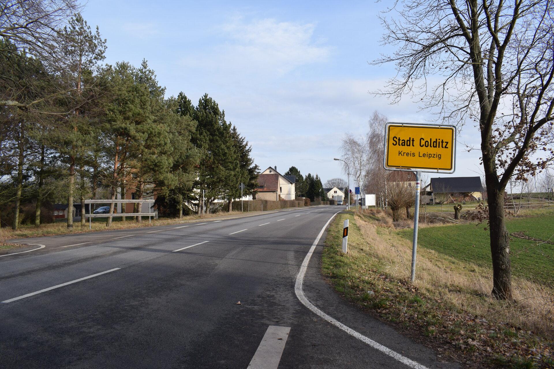 Ortseingang Colditz - B 176 von Bad Lausick kommend
