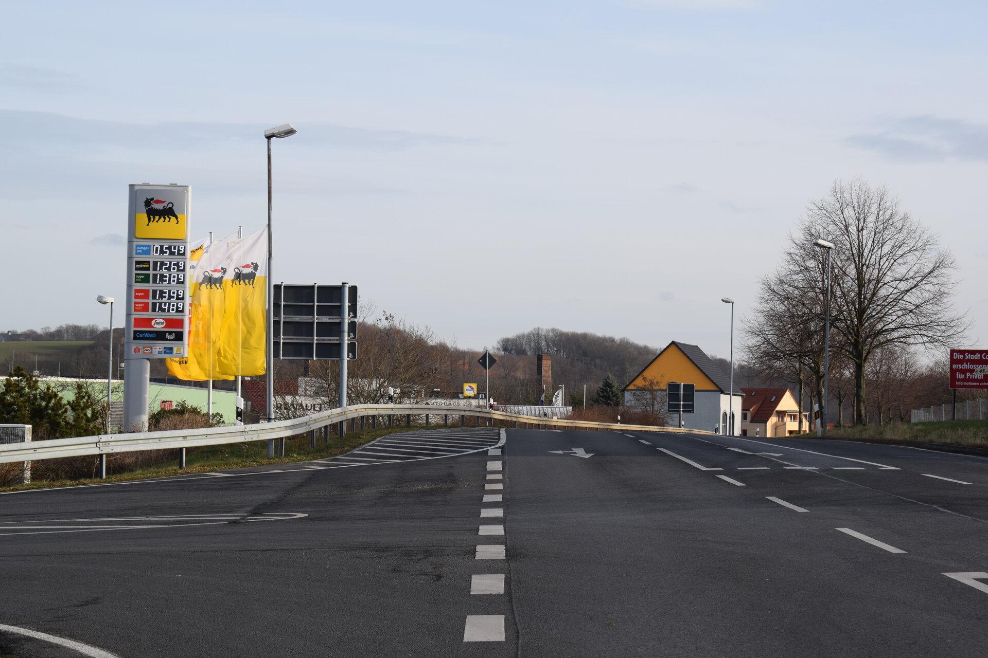 Ortseingang Colditz - B 107 von Schönbach kommend