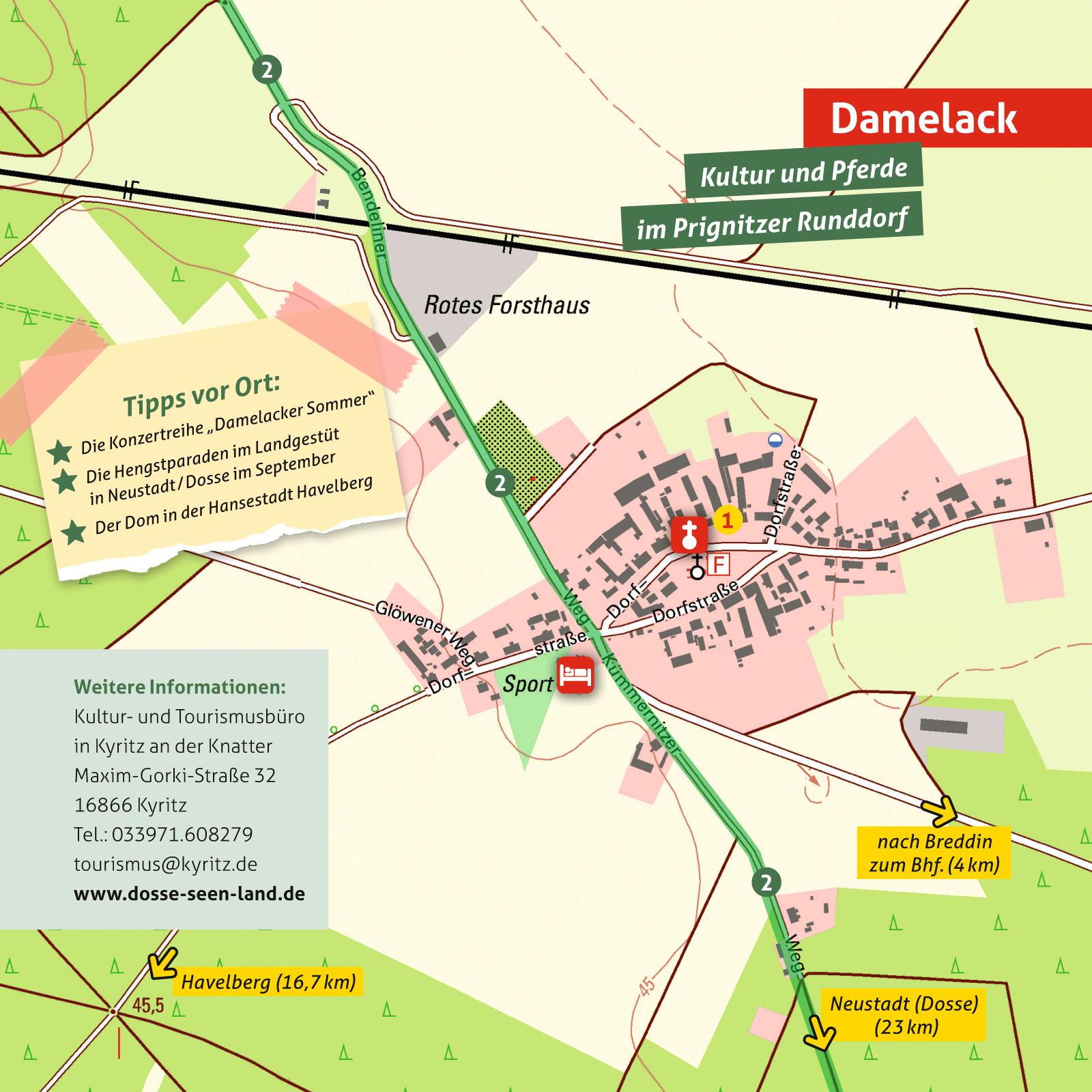 Ausflugskarte für Damelack