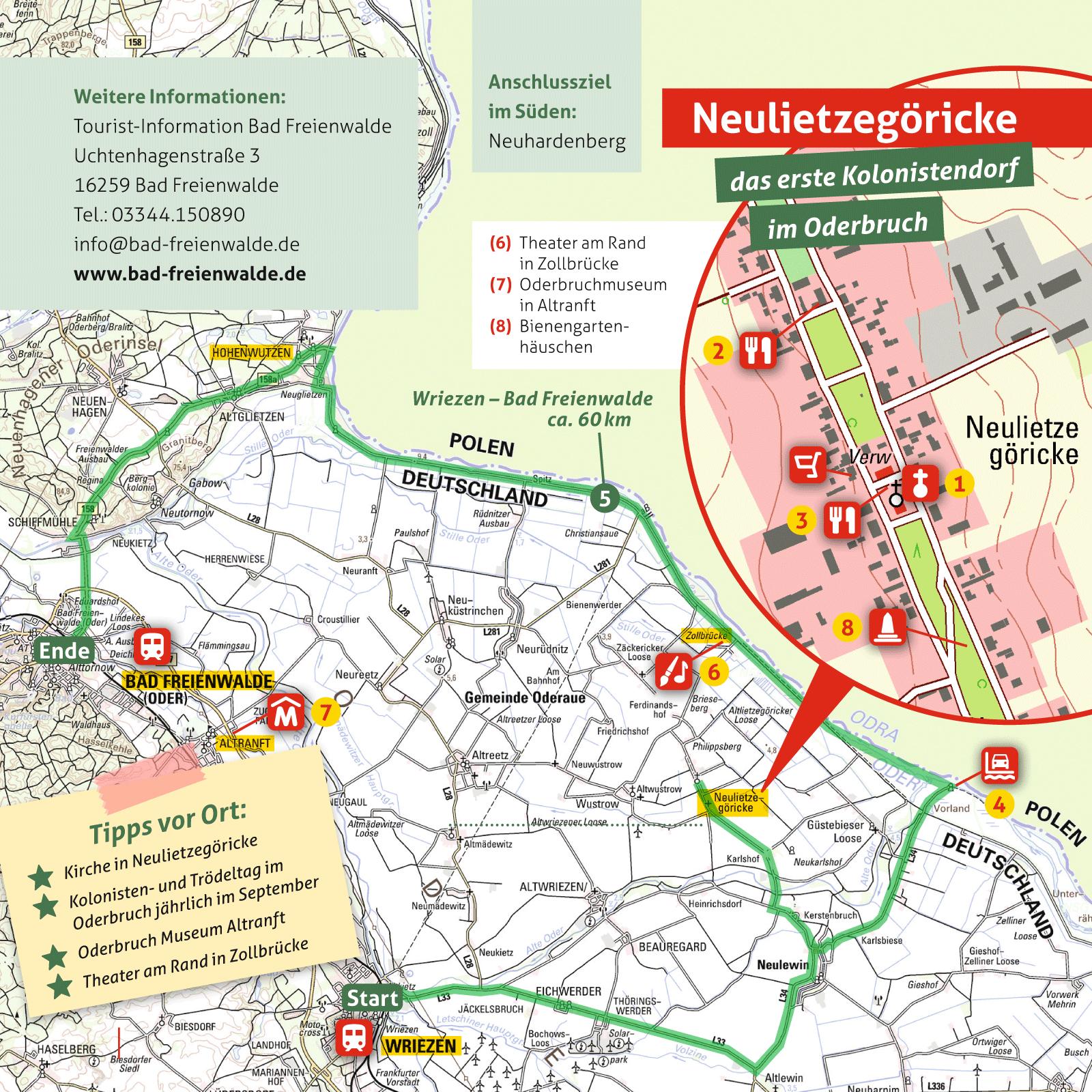 Ausflugskarte für Neulietzegöricke