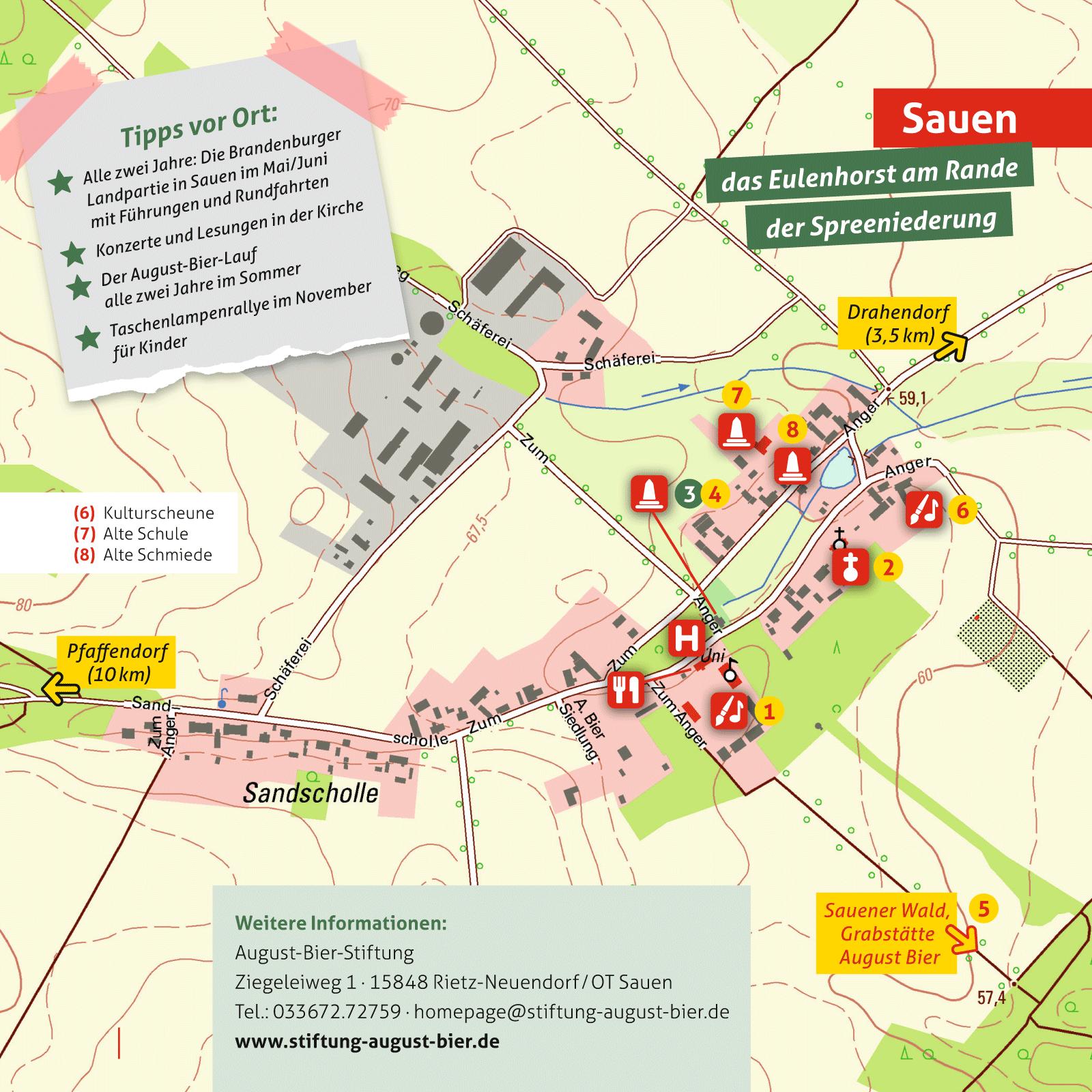 Ausflugskarte für Sauen