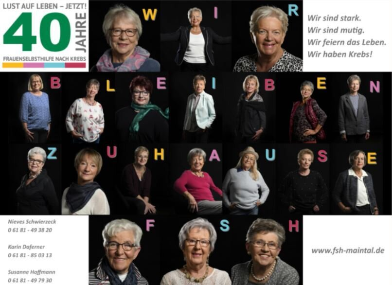 Bild zeigt eine Collage der Frauenselbsthilfegruppe nach Krebs; Foto: FSH