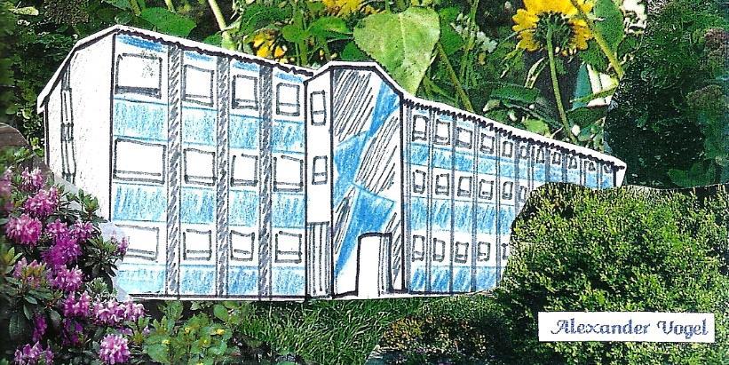 """Neues Schulhaus, """"Blauer Kasten"""", Bahnhofstraße, 1964/Zeichnung 1994"""