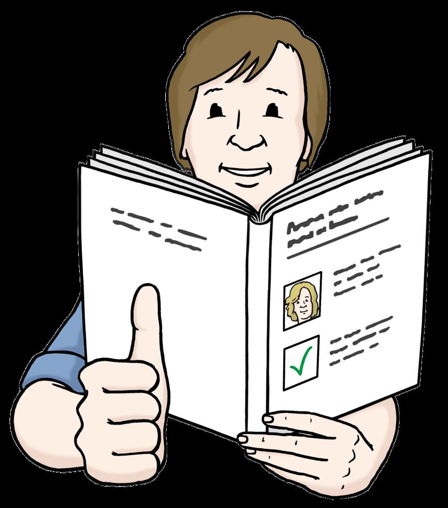 Bild zeigt eine zufriedene Person beim Lesen. Die Person zeigt den Daumen nach oben