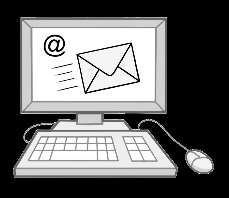 Bild zeigt einen Computer in dem ein Brief und das @-Zeichen abgebildet ist