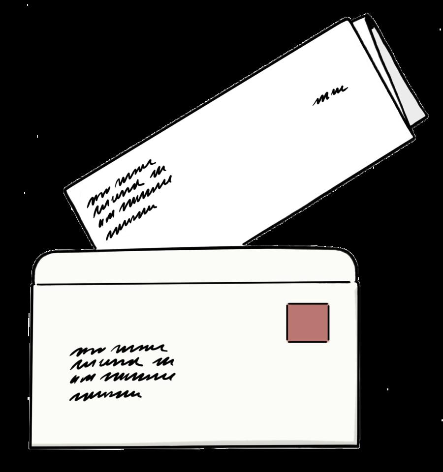 Bild zeigt einen Brief und einen Brief-Umschlag