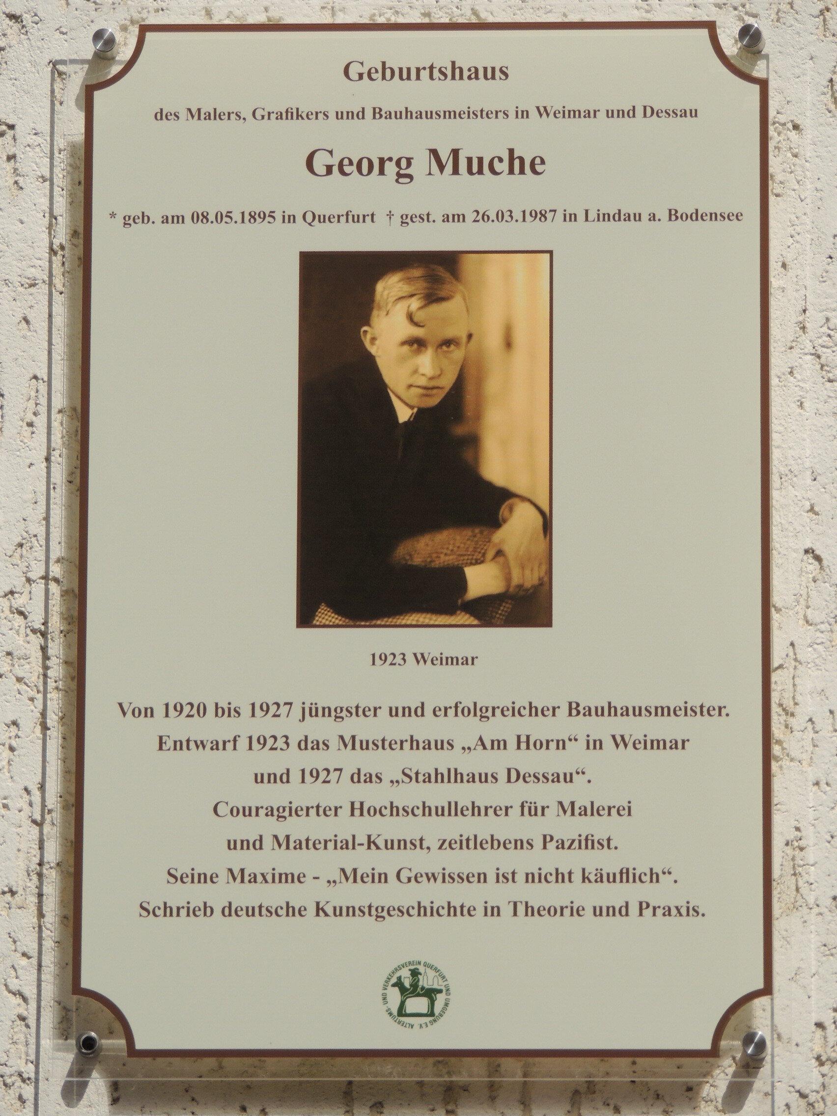 Gedenktafel am Muche-Geburtshaus