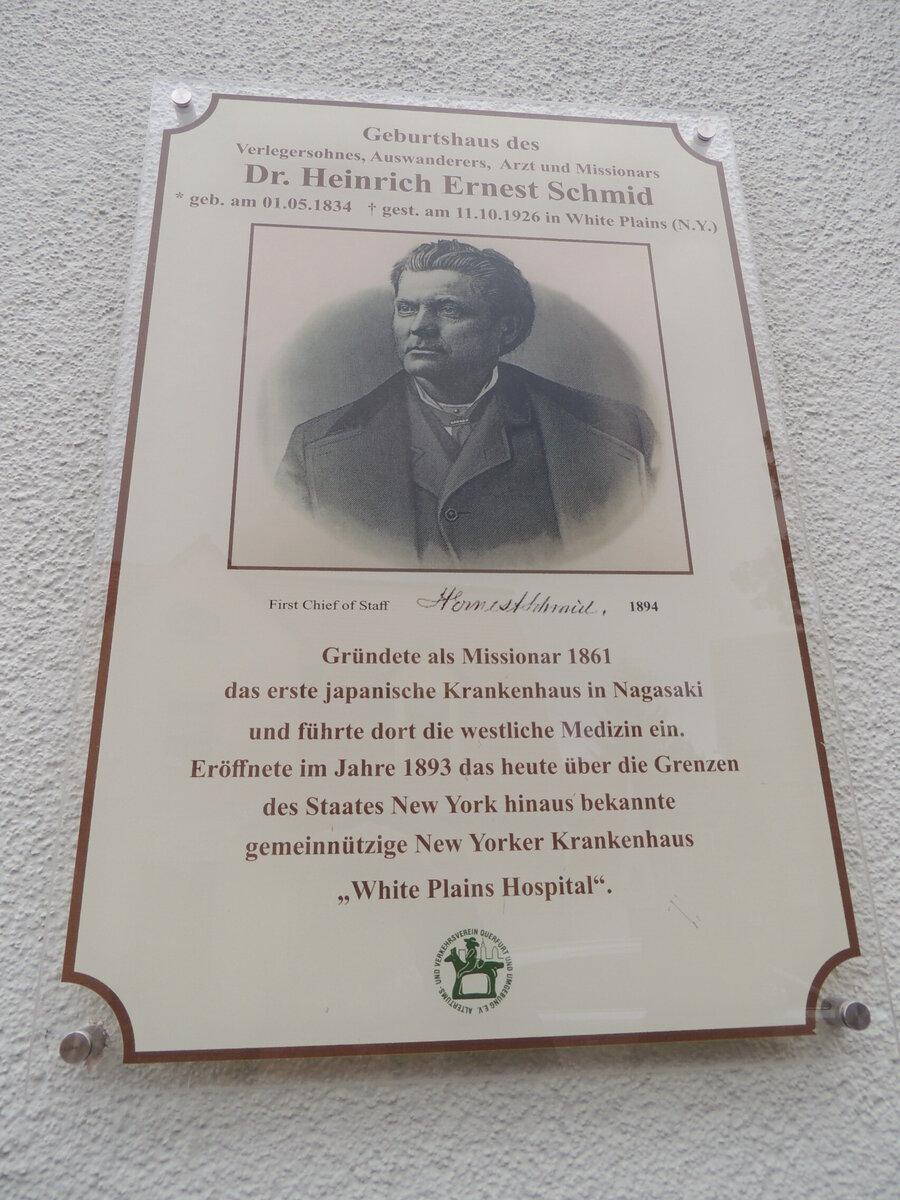 Gedenktafel an Schmids Geburtshaus