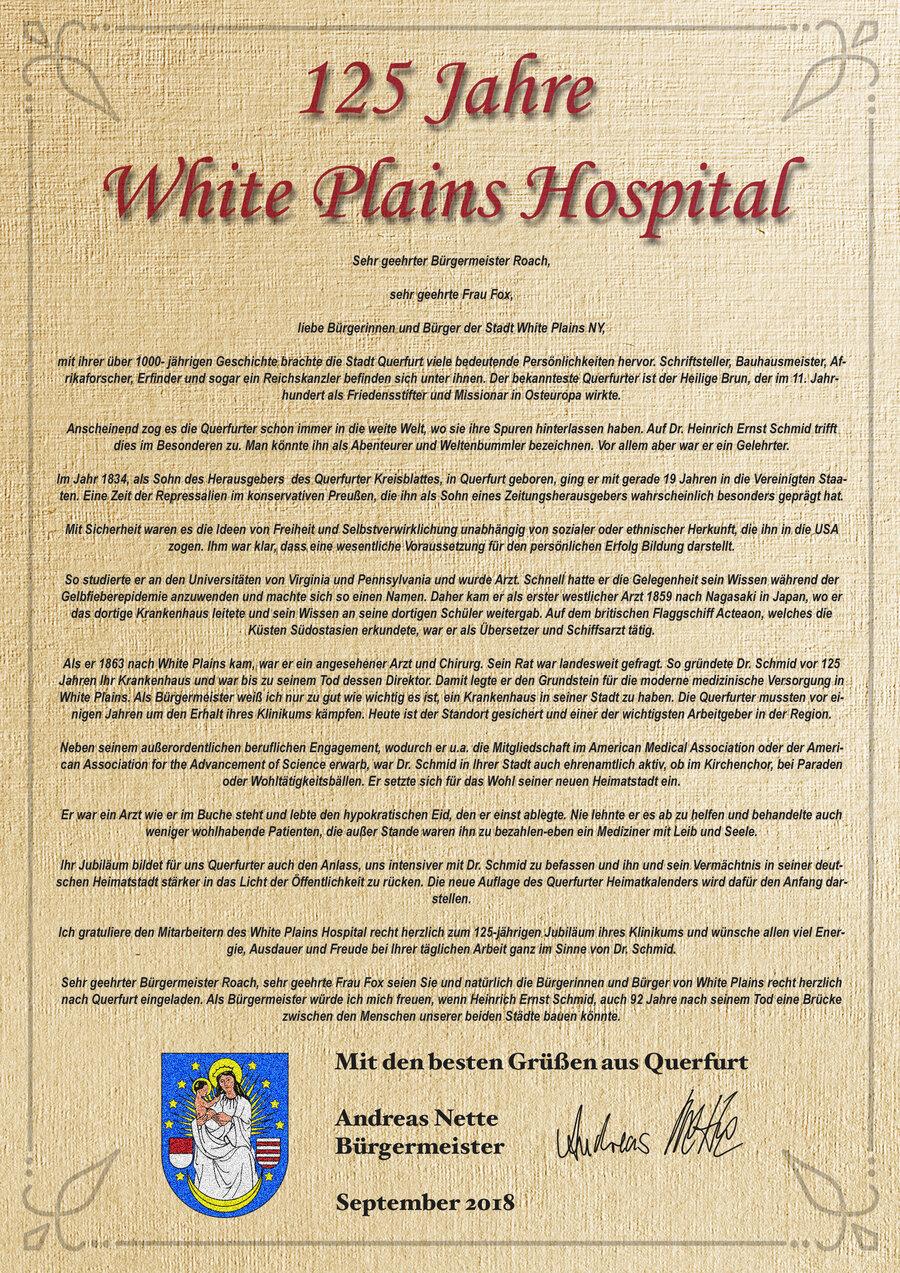Gratulationsschreiben des Bürgermeisters an das White Plains Hospital