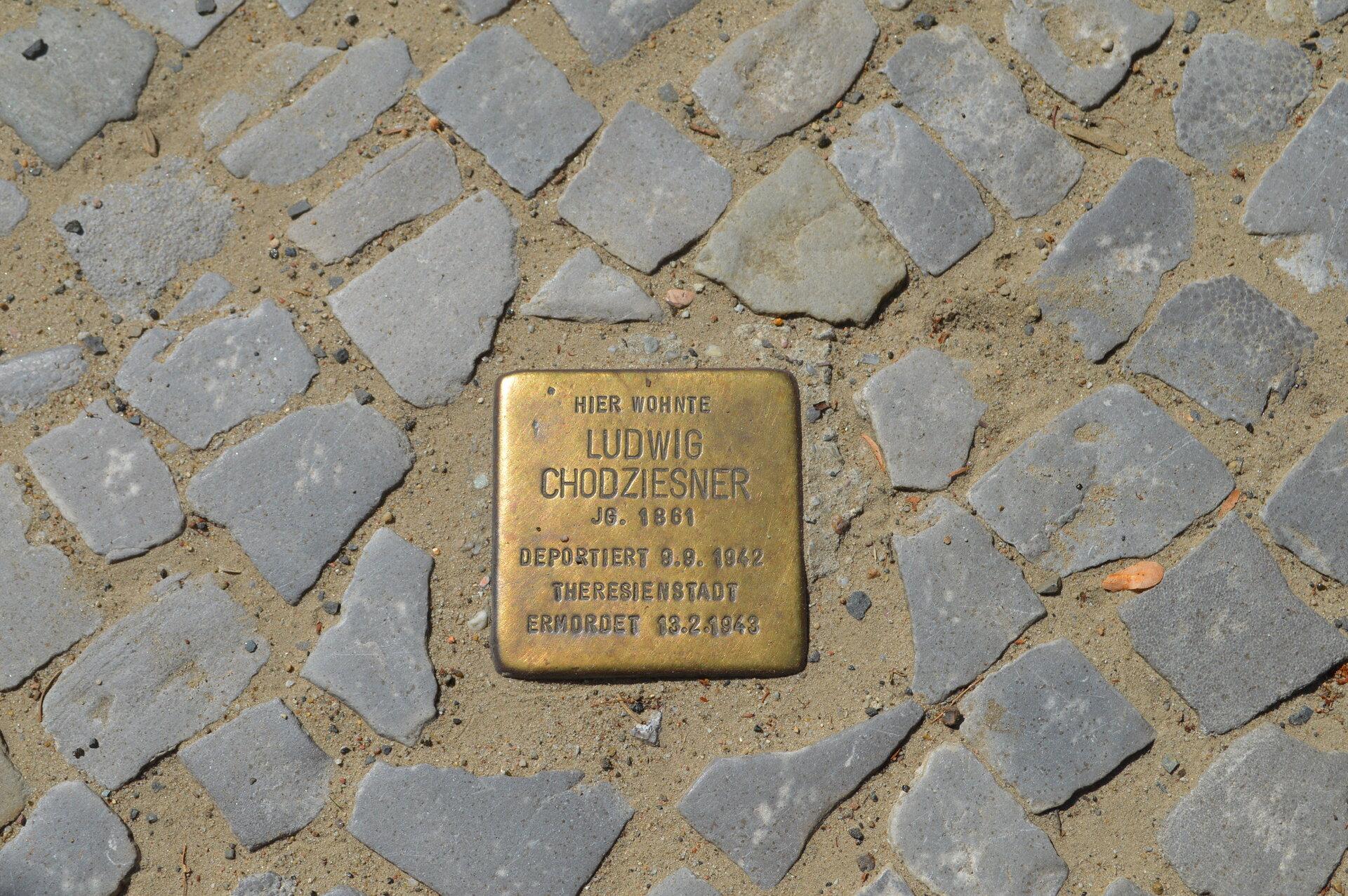 Der Stolperstein für Ludwig Chodziesner in Falkensee