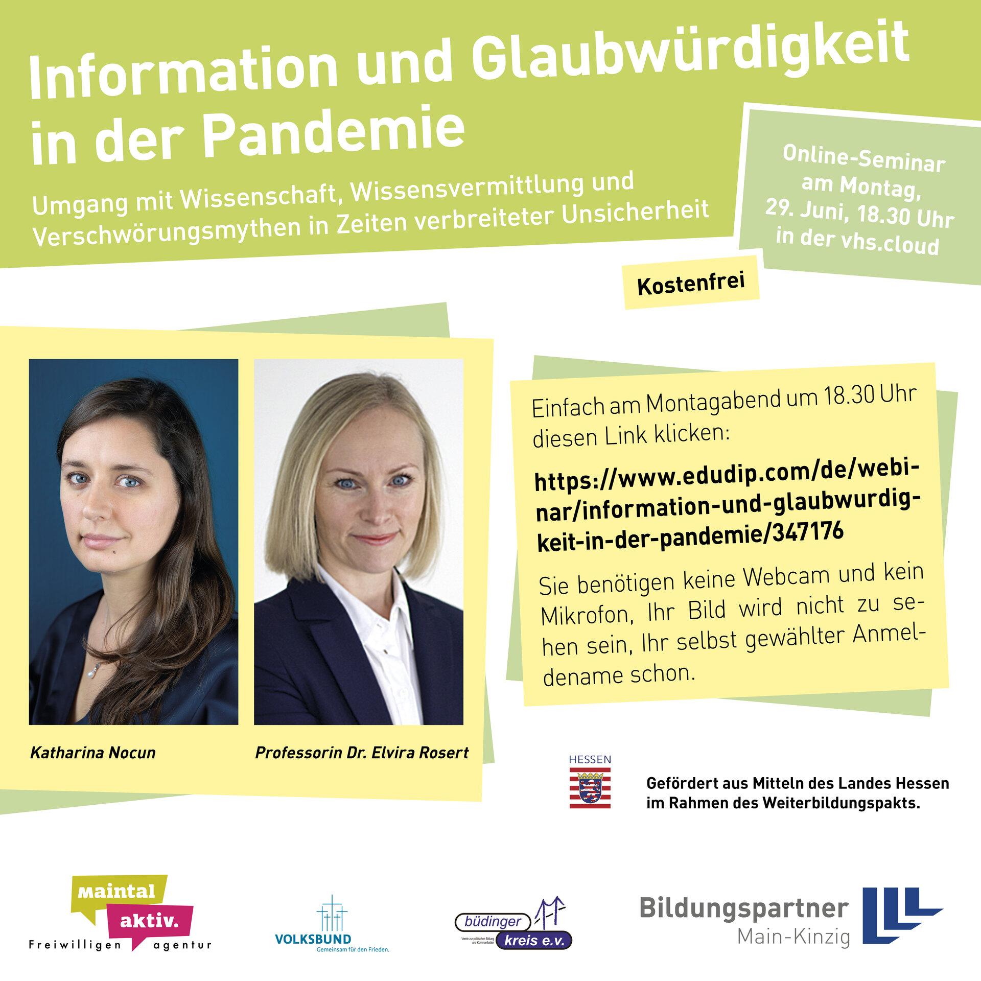 Bild zeigt Infos zum Online-Seminar inkl. Anmeldelink