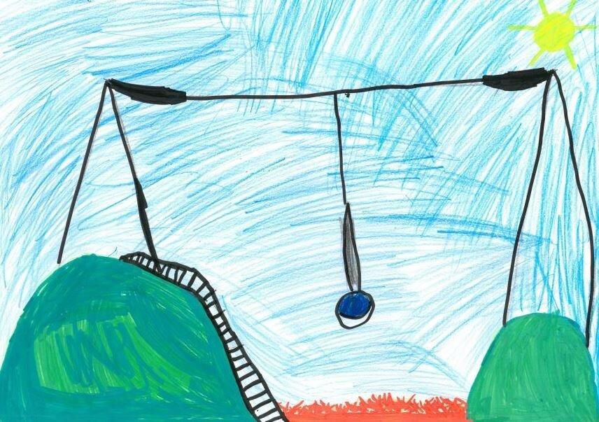 Das Bild zeigt eine Kinder-Zeichnung von einem Spielgerät (Seilbahn).