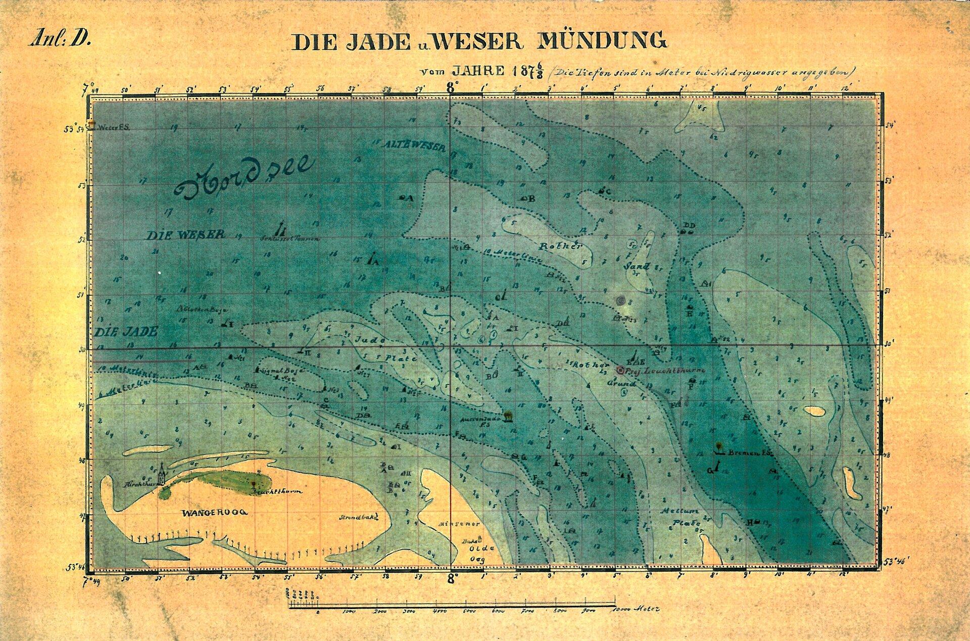 Karte Jade-Wesermündung 1887