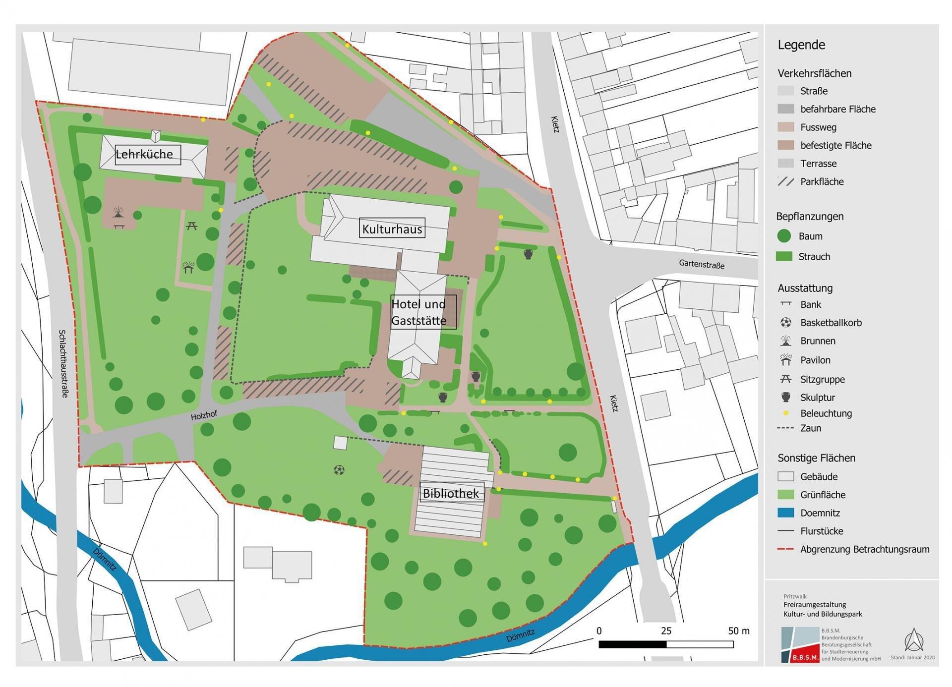 Die Karte zeigt das Areal, das in den kommenden Jahren neu gestaltet werden soll.