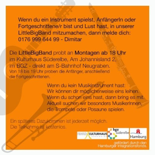 Flyer LittleBigBand Hinterseite
