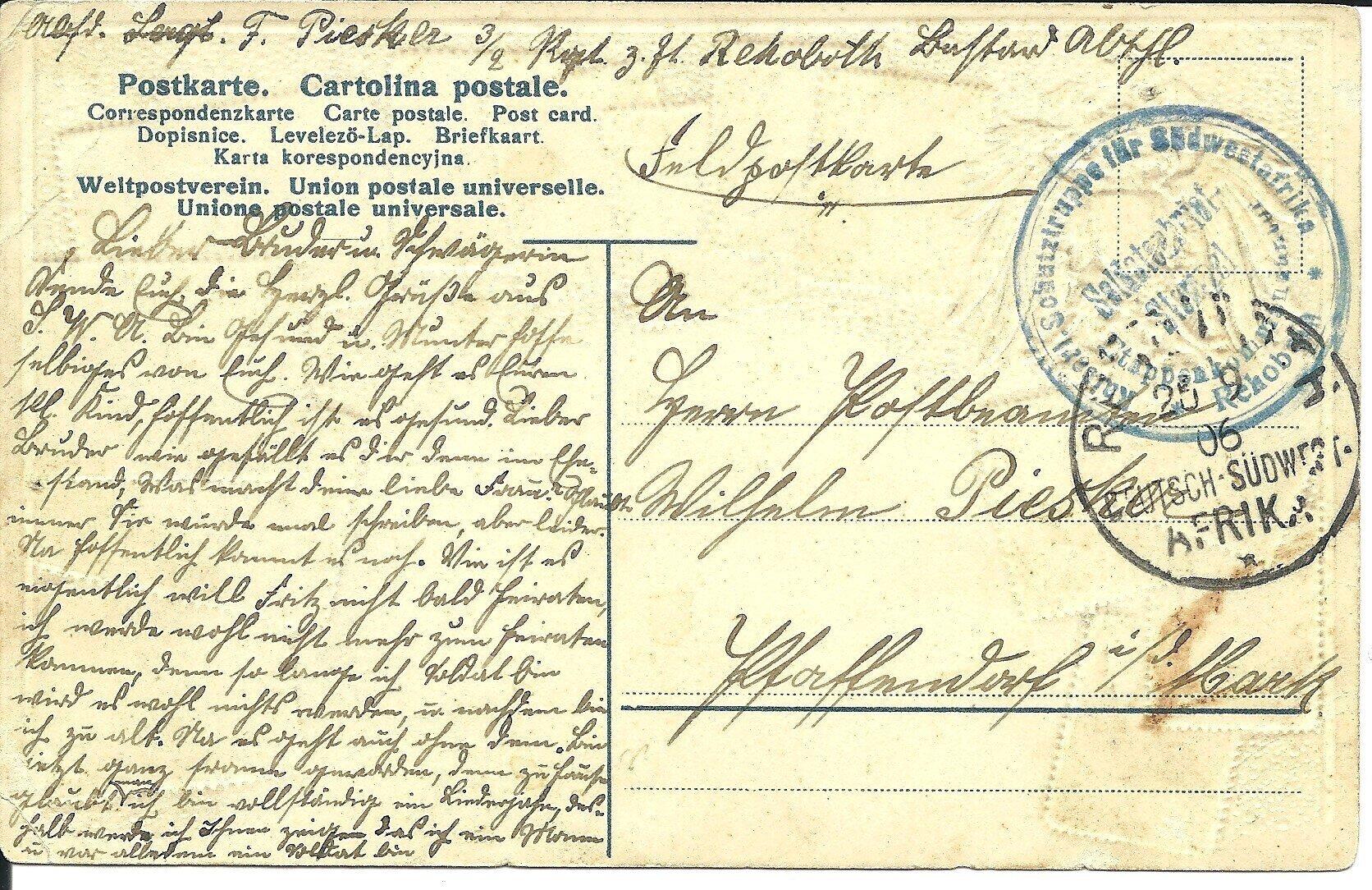 Postkarte Afrika 1906 Rückseite