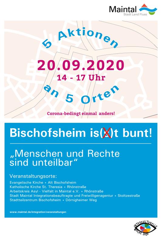Bild zeigt das Plakat Bischofsheim is(s)t bunt 2020!