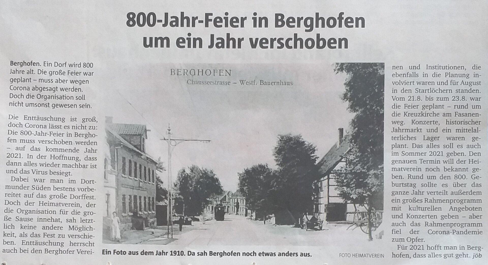800 Jahr Feier verschoben
