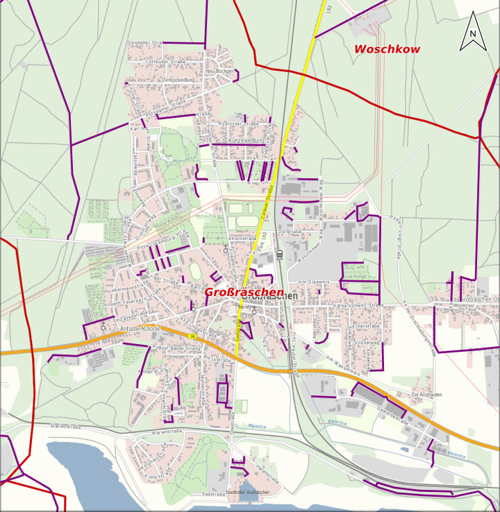 Karte je Ortsteil nicht öffentlicher Straßen und Wege