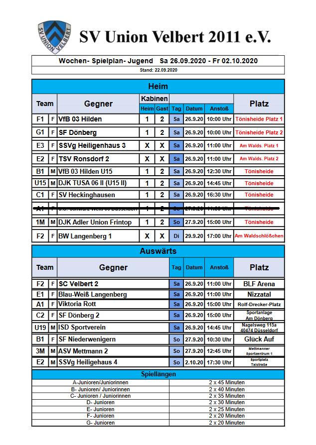 Spielplan 26.10 - 02.11