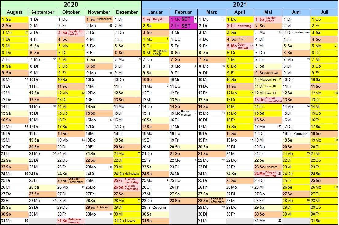Kalender Schuljahr 2020 / 2021