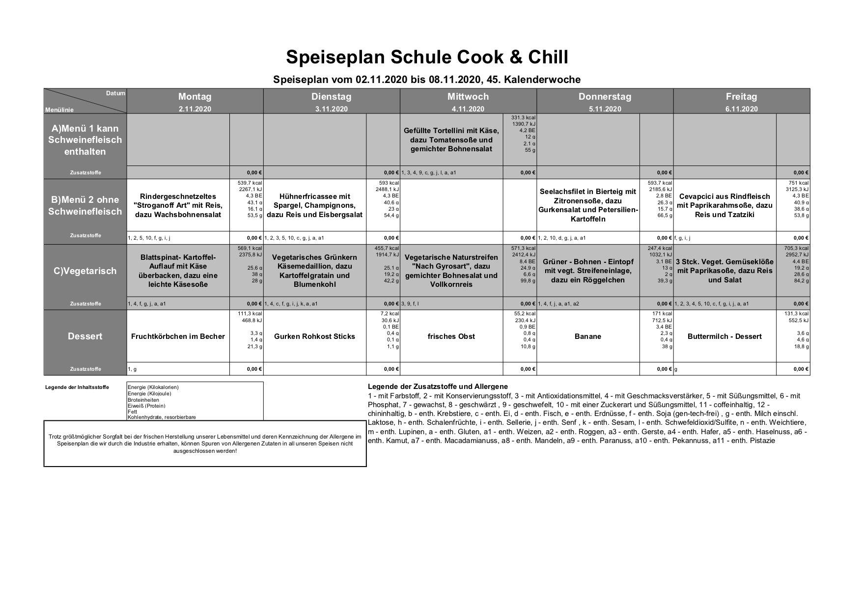Speiseplan 2.11. - 6.11.2020 (KW 45)