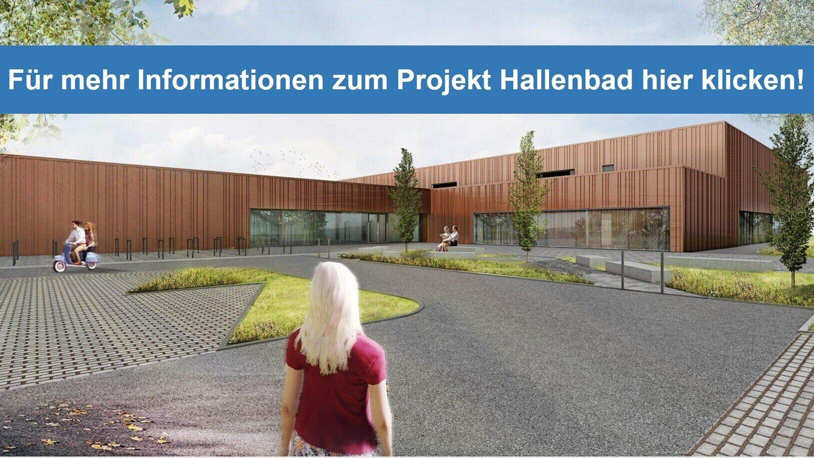 Das Bild zeigt den Entwurf der Firma Bauconzept Planungsgesellschaft mbH zum geplanten Hallenbad.