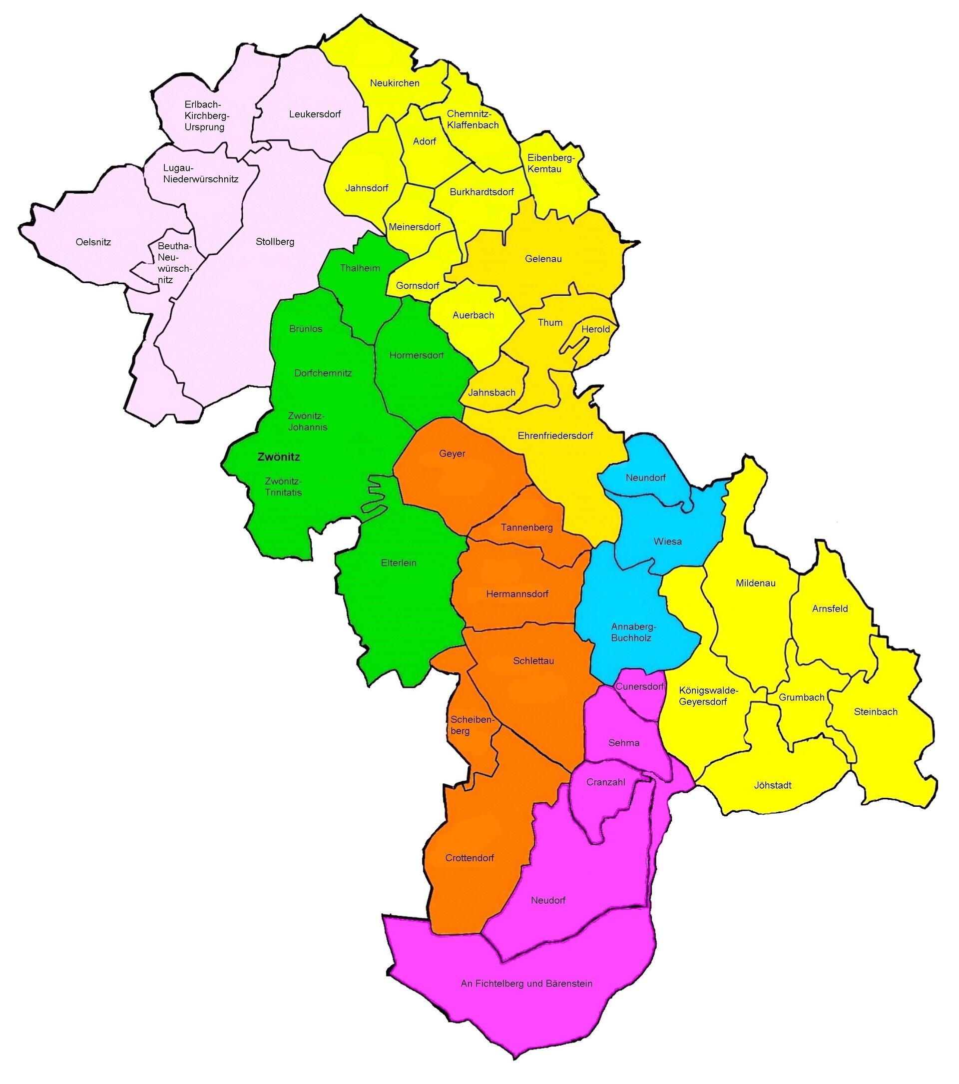 Regionen im KBZ