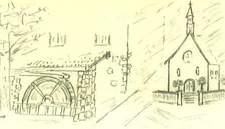 Mühle und Kirche, gezeichnet zur Mühlradeinweihung 2004