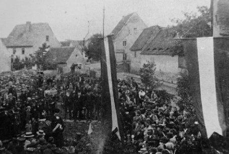 Grundsteinlegung neues Rahtaus am 14.06.1900