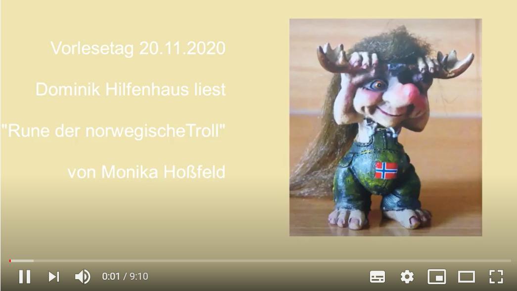 """Externer Link führt zum Vorlese-Video """"Rune, der norwegische Troll"""" auf youtube"""