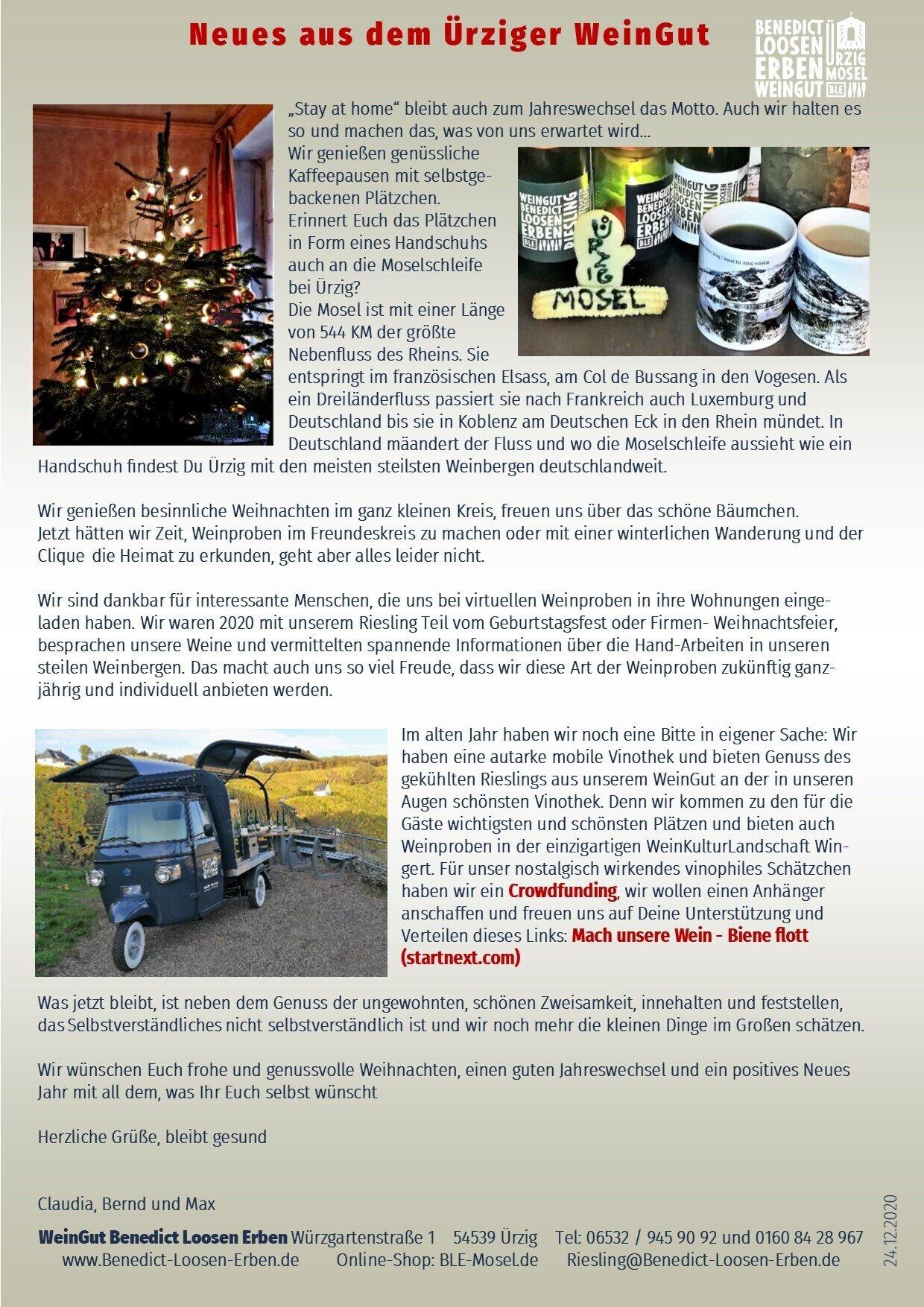 Jahresend-Neuigkeiten aus dem WeinGut Benedict Loosen Erben