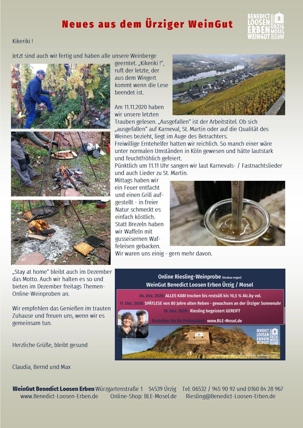 Herbst-Neuigkeiten aus dem WeinGut Benedict Loosen Erben