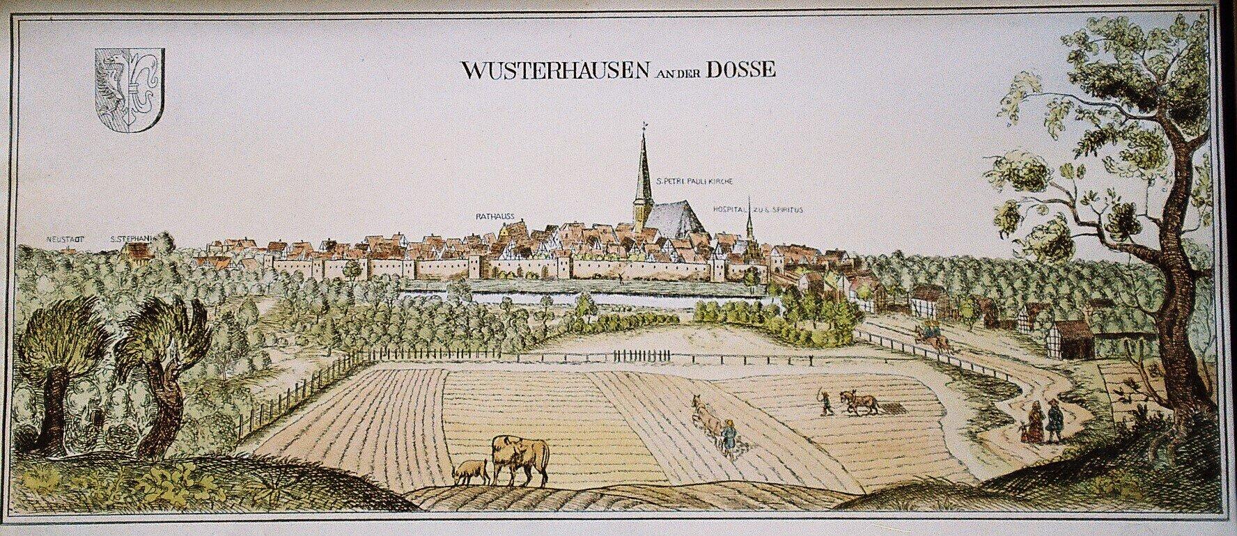 Kolorierte Kopie des Kupferstichs, Archiv Wegemuseum