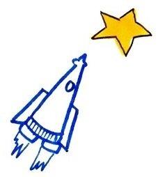 Grafik, Rakete fliegt zu den Sternen