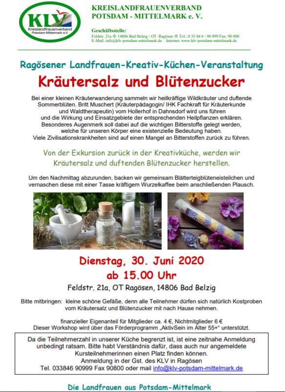 Kräutersalz und Blütenzucker 30.06.2020