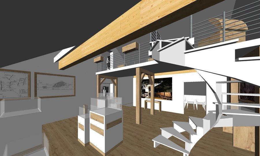3D Ansicht Vorschlagsentwurf eines Ausstellungsraumes. Bild: Schreinerei Behringer+Behringer, Wieden