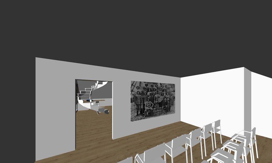 3D Ansicht Vorschlagsentwurf des Vortragsraumes. Bild: Schreinerei Behringer+Behringer, Wieden