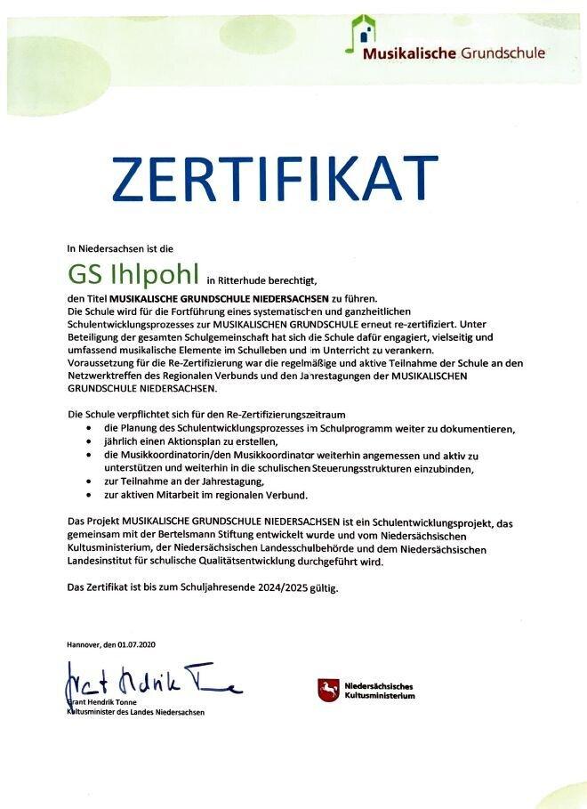 Zertifikat Musikschule