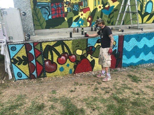 Graffitikünstler bei der Arbeit