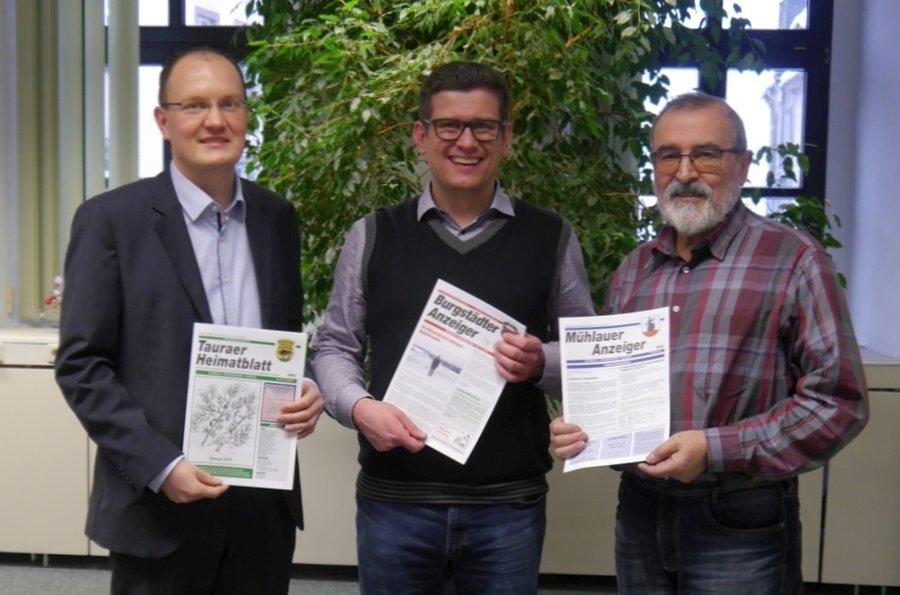 v.l.n.r. Robert Haslinger (Bürgermeister Gemeinde Taura), Lars Naumann (Bürgermeister Stadt Burgstädt), Frank Petermann (Bürgermeister Gemeinde Mühlau)