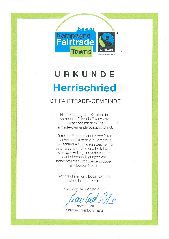 Urkunde Fairtrade-Gemeinde Herrischried