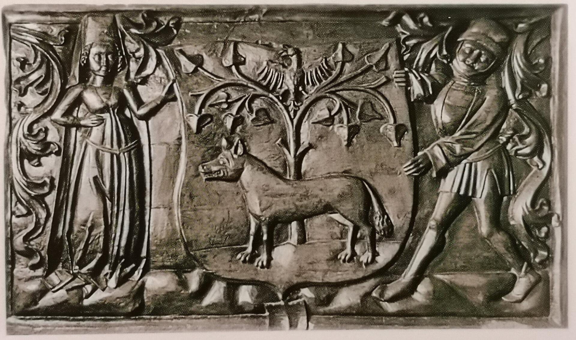 Wappentafel mit Wappenträgerfiguren in bürgerlicher Kleidung aus dem 15. Jahrhundert. Quelle: Illsutrierte Geschichte Pritzwalks, 2. Auflage