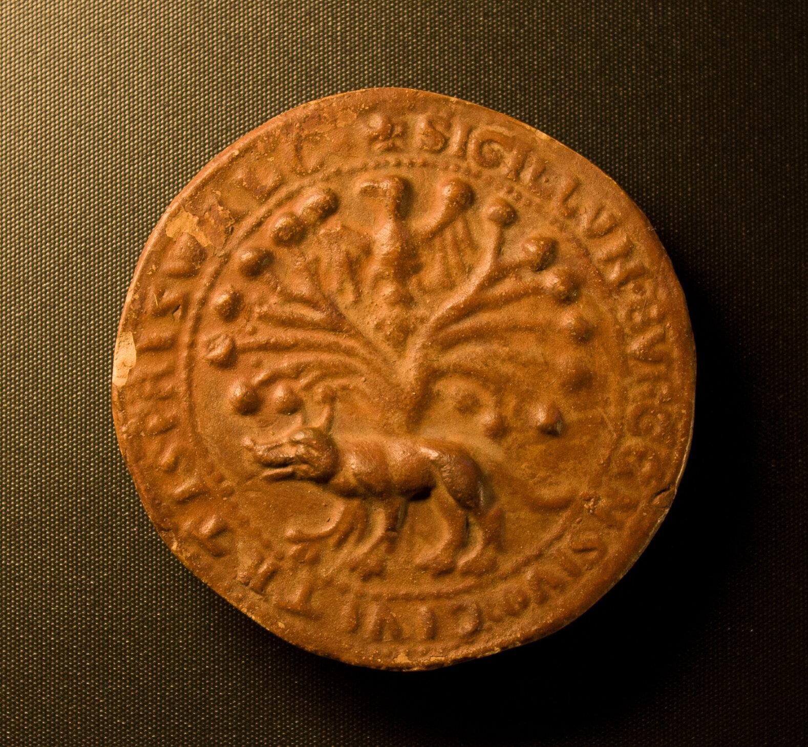 Wolf und Linde in einem Pritzwalker Siegel aus dem beginnenden 14. Jahrhundert. Quelle: Museumsfabrik Pritzwalk