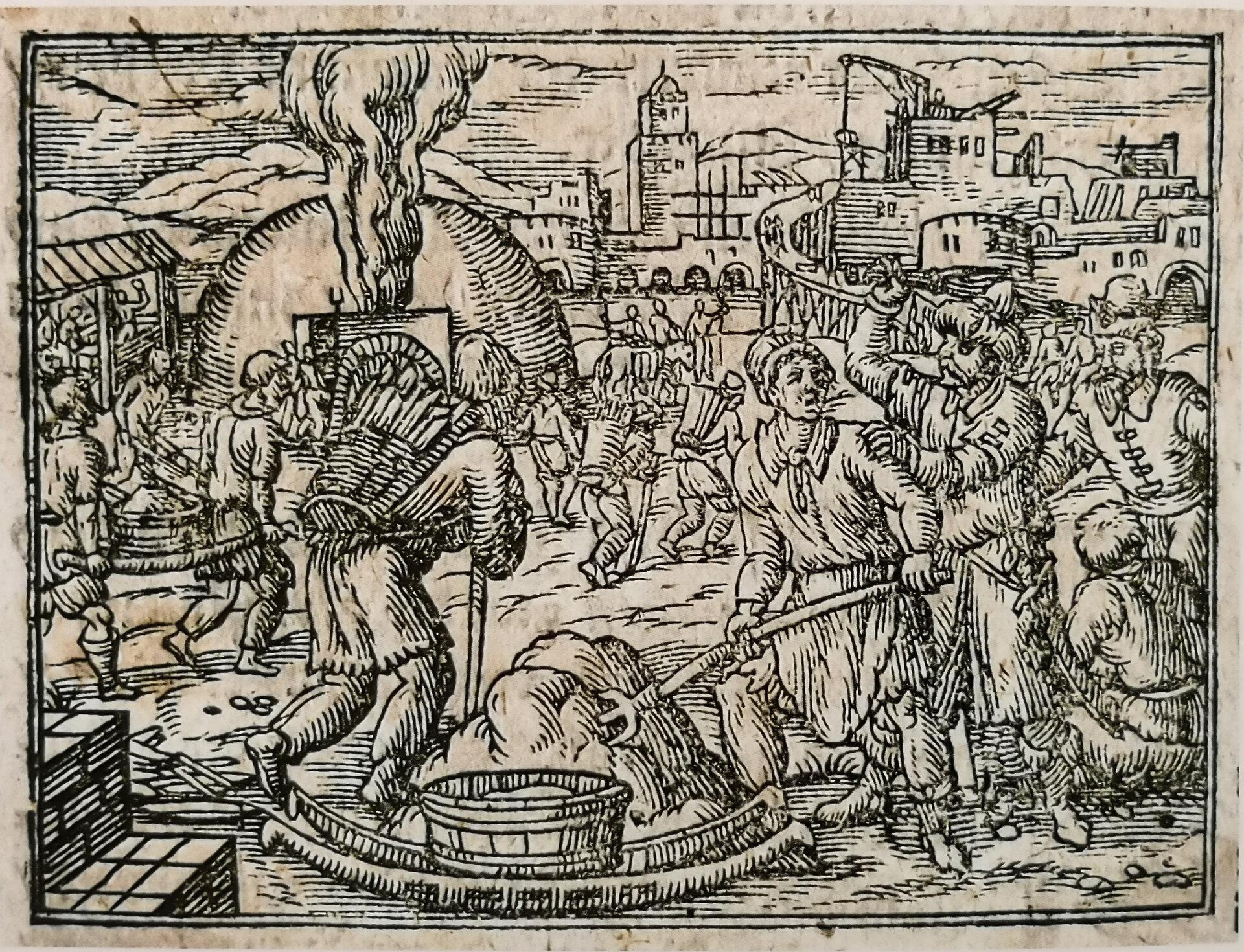 Phantasievolle Darstellung der Erbauung Pritzwalks aus Andreas Angelus, Annales Marchiae Brandenburgicae, 1598. Quelle: Illustrierte Geschichte Pritzwalks