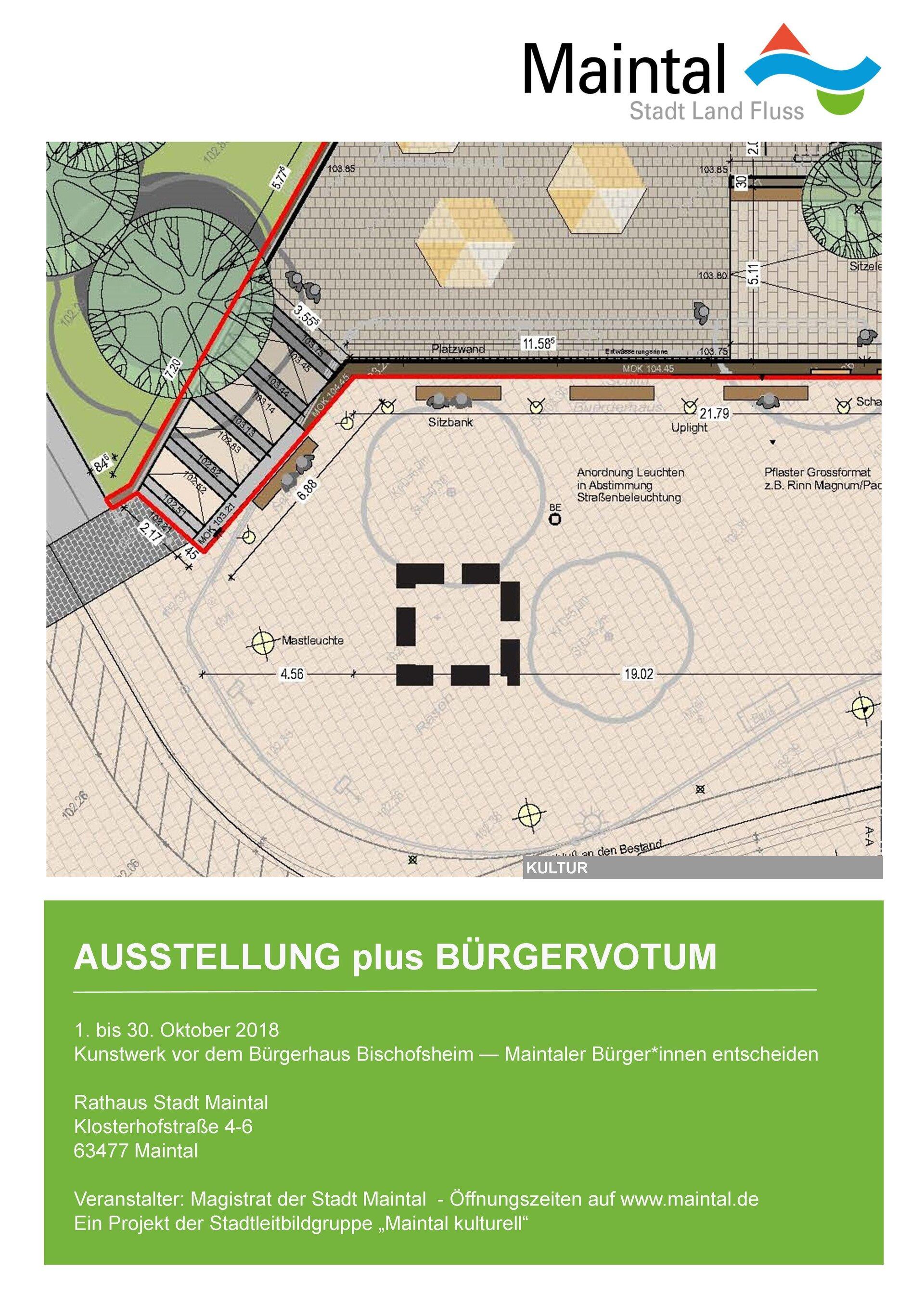 Plakat zur Ausstellung / Bürgervotum Kunstwerk Bischofsheim 2018