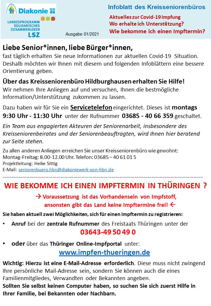 Infoblatt des Kreisseniorenbüros