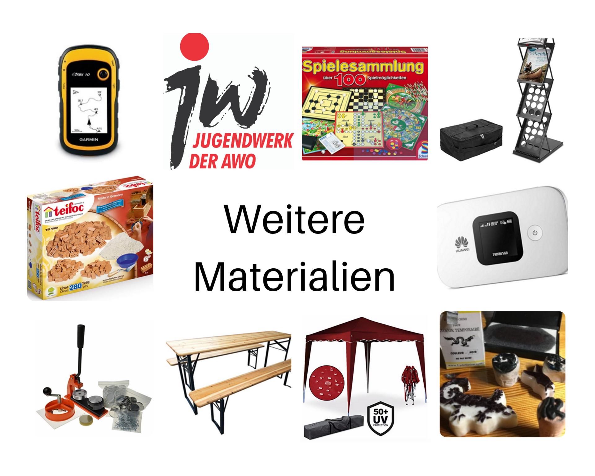 Bild mit weiteren Materialien zum Ausleihen: GPS Gerät, Spielesammlung, Prospektständer, Steinebauset, Mobiles WLan, Buttonmaschine, Sitzgarnitur, Pavillion, Tattoo Stempel